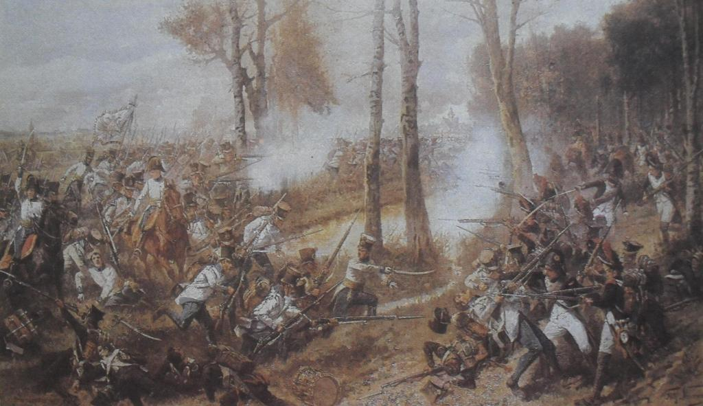 Neumann, Fritz. The charge of the 19th Hungarian infantry regiment in the Battle of Leipzig (1813) against the French.