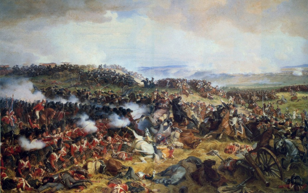 "Philippoteaux, Henri Félix Emmanuel: ""The Battle of Waterloo: The British Squares Receiving the Charge of the French Cuirassiers"""