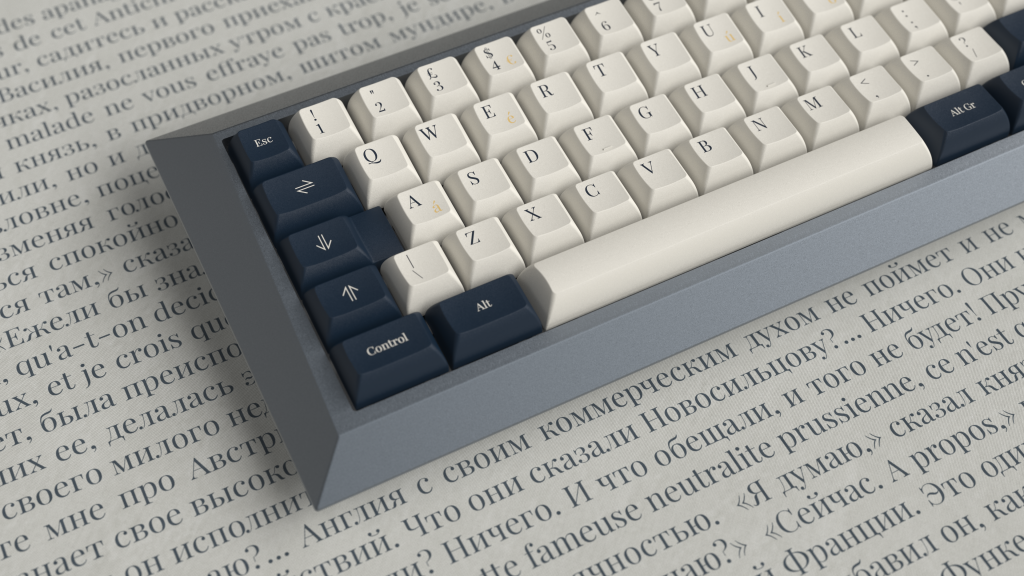 Wellington Alphas and British Navy Alt TKL Mods kit on Conone by kindakeyboards. Render by manzel.